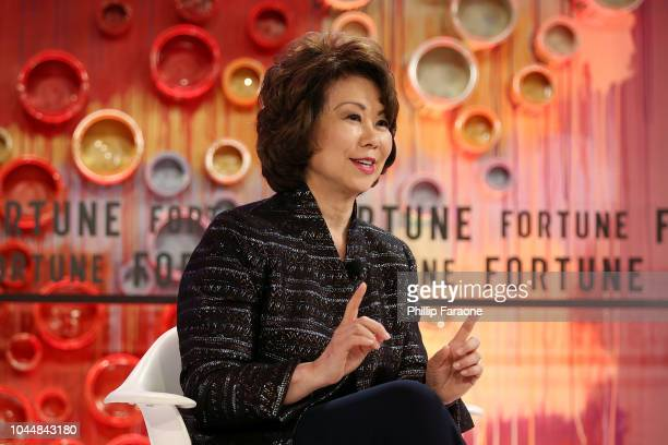 S Secretary of Transportation Elaine Chao speaks onstage at the Fortune Most Powerful Women Summit 2018 at Ritz Carlton Hotel on October 2 2018 in...