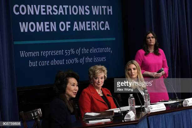 US Secretary of Transportation Elaine Chao US Small Business Administration Administrator Linda McMahon Ivanka Trump Adviser and daughter of...