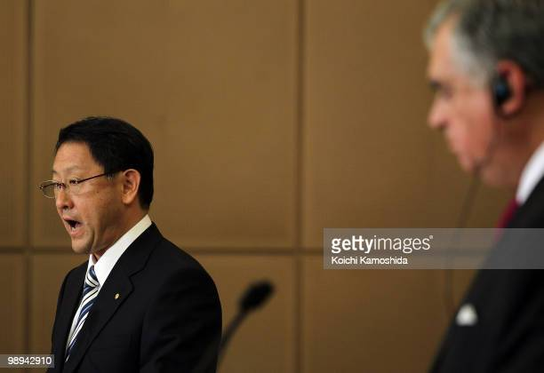 S Secretary of Transportation Ray LaHood and Toyota Motor Corporation President Akio Toyoda attend the joint press conference at TMC's headquarters...