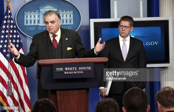 S Secretary of Transportation Ray LaHood answers questions during a briefing as the White House with Press Secretary Jay Carney looks onFebruary 22...