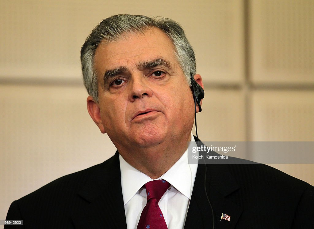 U.S. Secretary of Transportation Ray LaHood attends the joint press conference at TMC's headquarters on May 10, 2010 in Toyota, Japan.
