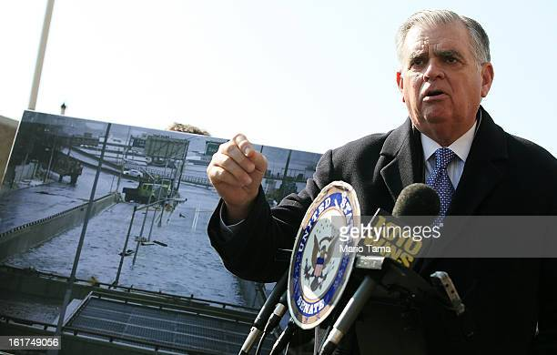 S Secretary of Transportation Ray LaHood speaks next to a photo of Hurricane Sandy flooding on February 15 2013 in New York City LaHood announced...