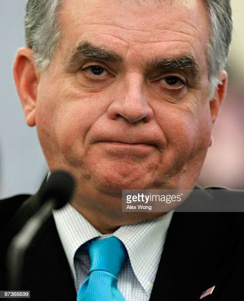 S Secretary of Transportation Ray LaHood waits for the beginning of a hearing on the recall of Toyota before the Senate Commerce Science and...