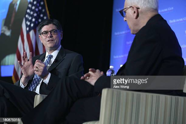 S Secretary of Treasury Jacob Lew joins a conversation with David Rubenstein President of the Economic Club of Washington DC during the club's fall...