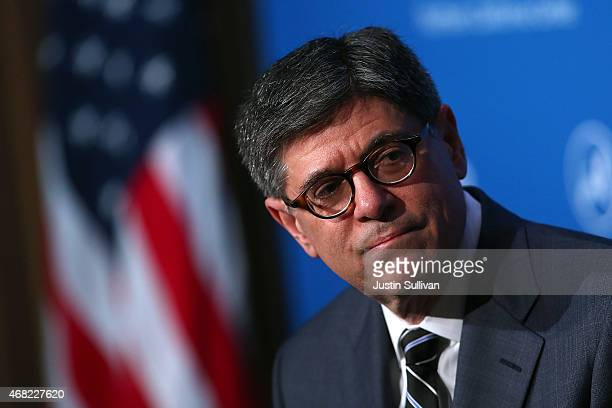 S Secretary of Treasury Jacob Lew speaks at the Asia Society of Northern California on March 31 2015 in San Francisco California Treasury secretary...