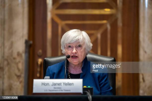 Secretary of Treasury Janet Yellen testifies during a Senate Appropriations Subcommittee hearing to examine the FY 2022 budget request for the...