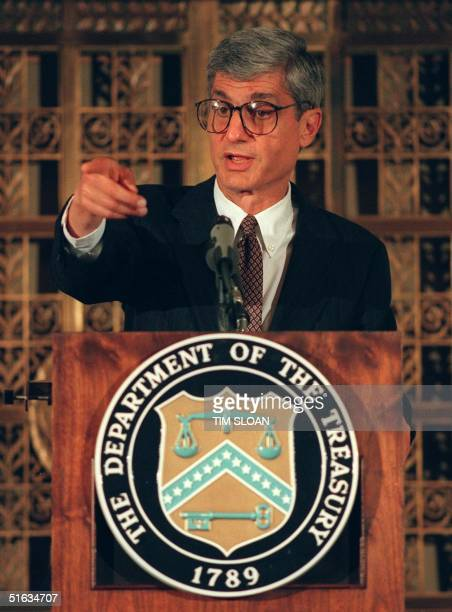 Secretary of Treasury Robert Rubin takes a question during a press conference 03 October in Washington, DC. Rubin said the financial chiefs of the...