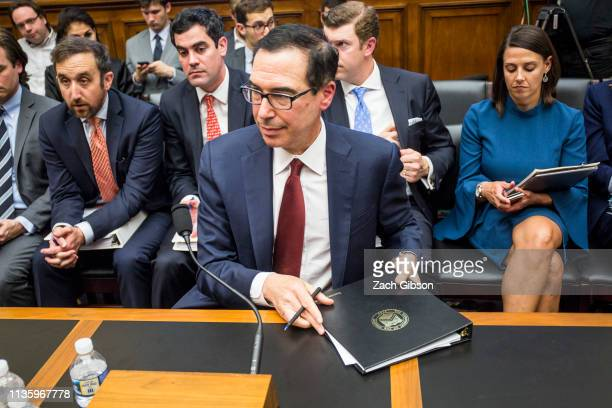 Secretary of Treasury Steve Mnuchin attends a House Financial Services Committee Hearing on Capitol Hill on April 9, 2019 in Washington, DC. Mnuchin...