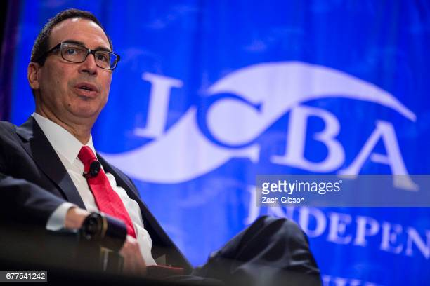 S Secretary of Treasury Steve Mnuchin delivers a regulatory update with Independent Community Bankers of America President and CEO Camden Fine at the...