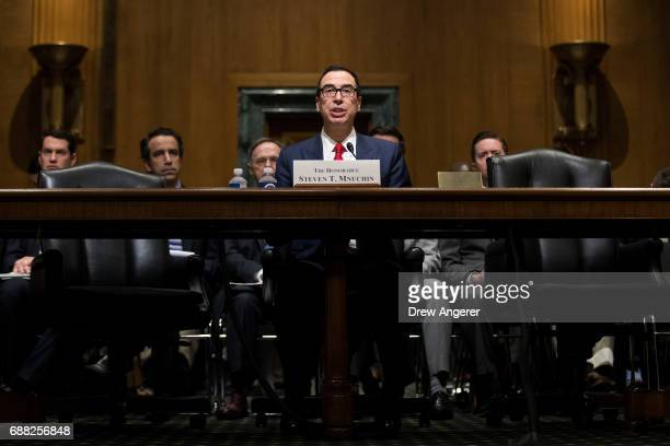 S Secretary of Treasury Steve Mnuchin during a Senate Finance Committee hearing concerning fiscal year 2018 budget proposals for the Department of...
