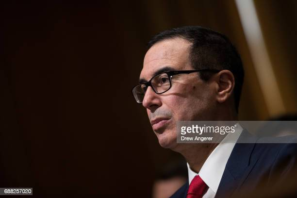 Secretary of Treasury Steve Mnuchin during a Senate Finance Committee hearing concerning fiscal year 2018 budget proposals for the Department of...