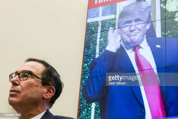S Secretary of Treasury Steve Mnuchin testifies during a House Financial Services Committee Hearing on Capitol Hill on April 9 2019 in Washington DC...