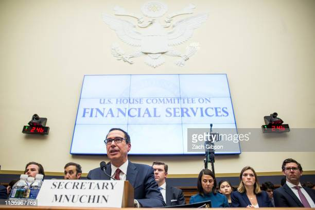 Secretary of Treasury Steve Mnuchin testifies during a House Financial Services Committee Hearing on Capitol Hill on April 9, 2019 in Washington, DC....