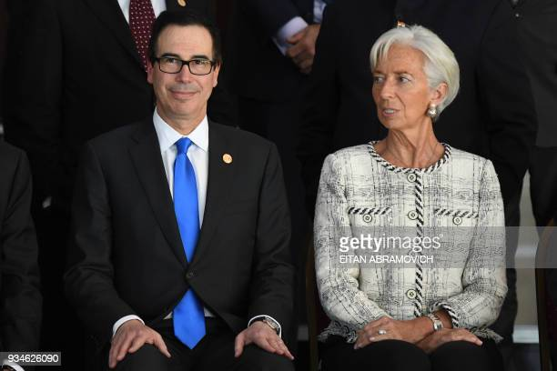 US Secretary of Treasury Steven Mnuchin and IMF Managing Director Christine Lagarde sit for the family picture of the G20 Meeting of Finance...