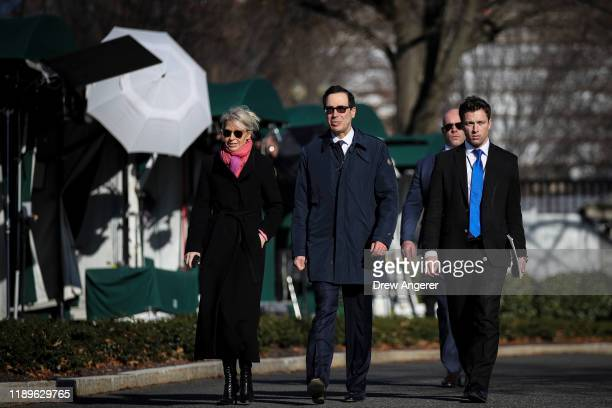 S Secretary of Treasury Steven Mnuchin departs after doing a television interview about USMCA and trade outside of the West Wing of the White House...