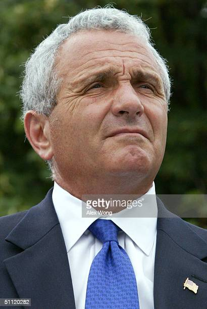S Secretary of Veterans Affairs Anthony J Principi attends a ceremony at the Korean War Veterans Memorial July 27 20004 in Washington DC Korean War...