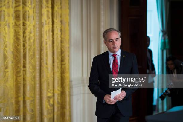 Secretary of Veterans Affairs David Shulkin arrives to speak during a bill signing event for the 'Department of Veterans Affairs Accountability and...