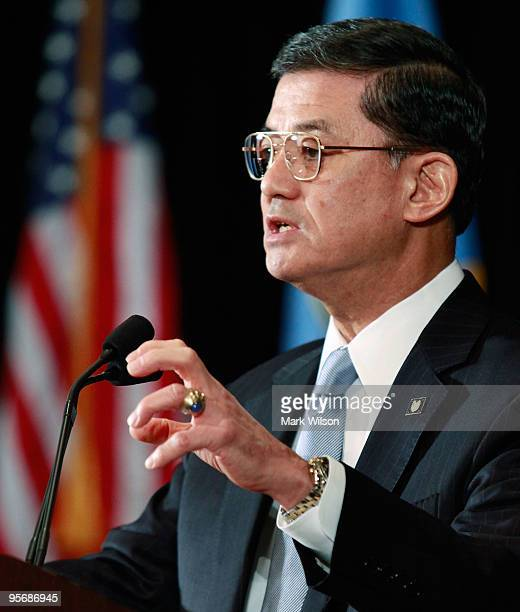 S Secretary of Veterans Affairs Eric Shinseki speaks about suicide prevention in the military a during the 2010 Department of Defense and Veterans...