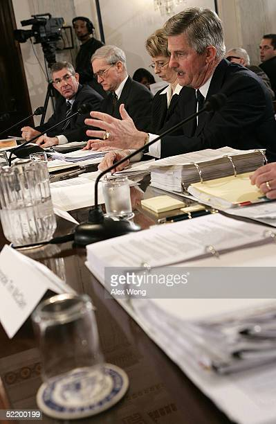 S Secretary of Veterans Affairs Jim Nicholson testifies during a hearing before the Senate Committee on Veterans Affairs on Capitol Hill February 15...