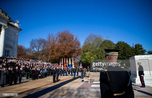 Secretary of Veterans Affairs Robert Wilkie places a wreath at the Tomb of the Unknown Soldier at Arlington National Cemetery on November 11 2018 in...