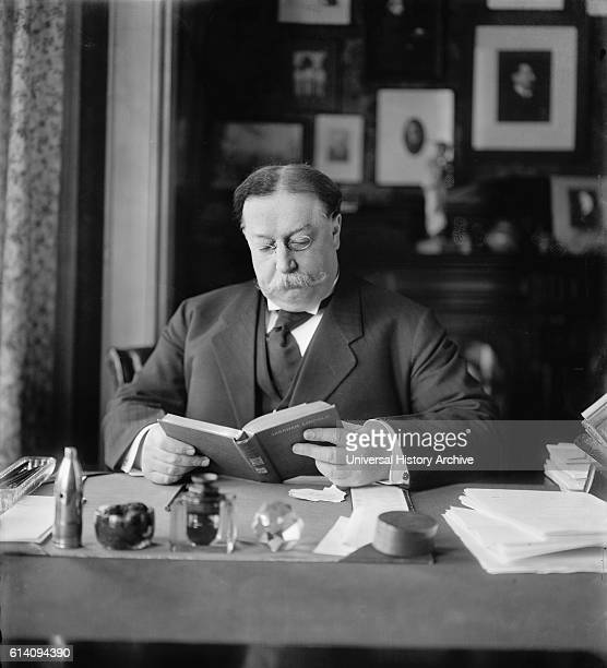 US Secretary of War William Howard Taft Portrait at Desk Washington DC USA circa 1905