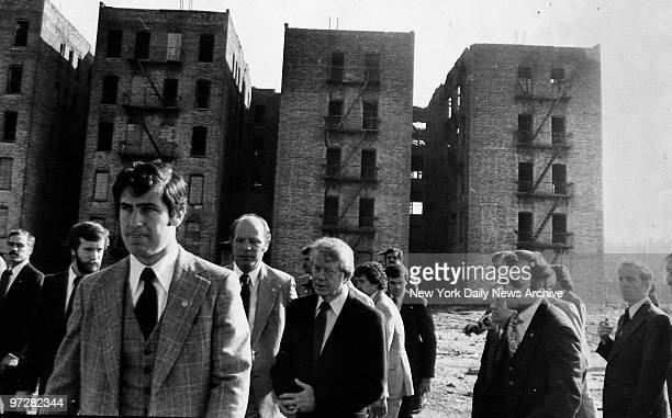 Secretary Patricia Harris President Jimmy Carter and Mayor Beame visit South Bronx
