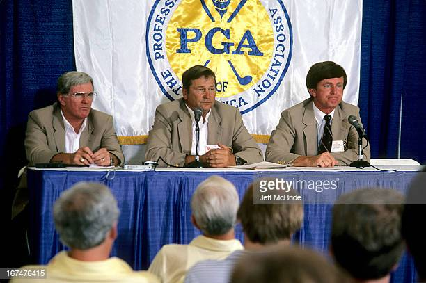 Secretary Patrick Rielly VP JR Carpenter and President Mickey Powell during the 67th PGA Championship held at Cherry Hills Country Club in Englewood...