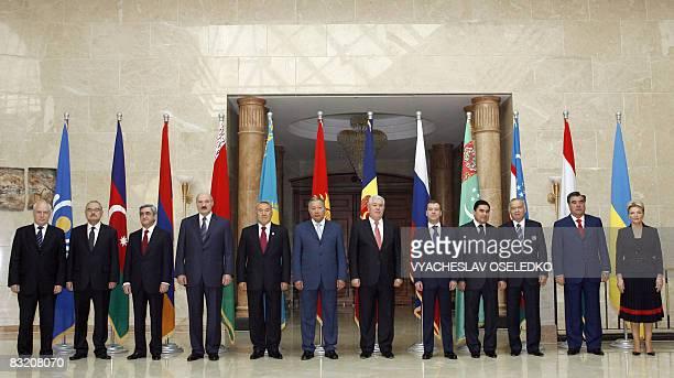 CIS Secretary Sergei Lebedev Azeri Prime Minister Artur Rasizade Presidents Serzh Sarkisian of Armenia Alexander Lukashenko of Belarus Nursultan...