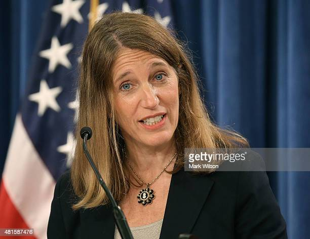 Secretary Sylvia Mathews Burwell speaks during a news conference at the Treasury Department July 22 2015 in Washington DC Treasury Department...