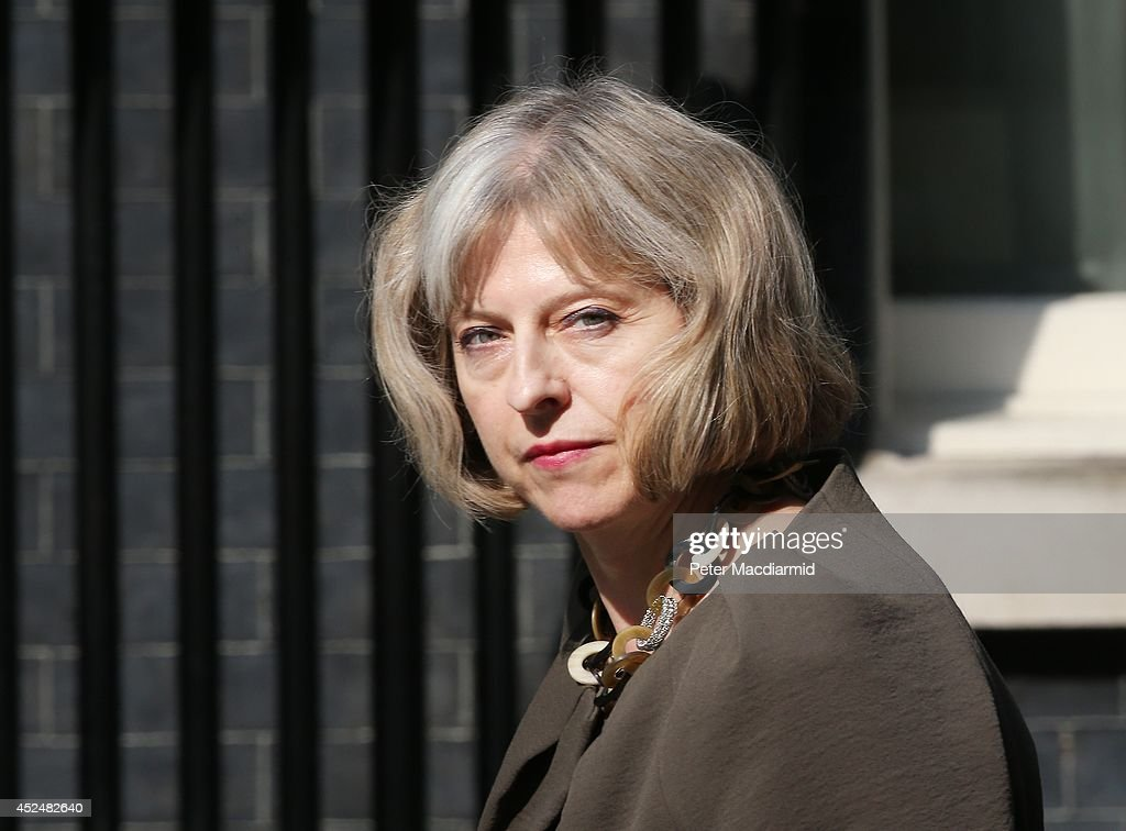Secretary Theresa May arrives in Downing Street on July 21, 2014 in London, England. Prime Minister David Cameron is holding a National Security meeting.