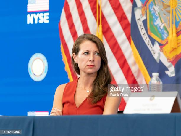 Secretary to the Governor Melissa DeRosa attends Andrew Cuomo announcement and briefing on COVID19 response at New York Stock Exchange