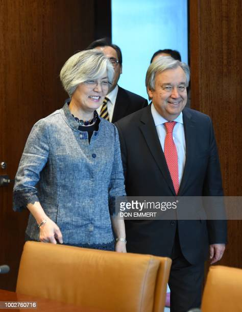 UN SecretaryGeneral Antonio Guterres and South Korean Foreign Minister Kang Kyungwha arrive for a meeting on July 20 at UN headquarters in New York