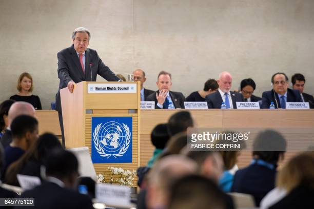 UN SecretaryGeneral Antonio Guterres delivers a speech at the opening of the United Nations Human Rights Council on February 27 2017 in Geneva The...