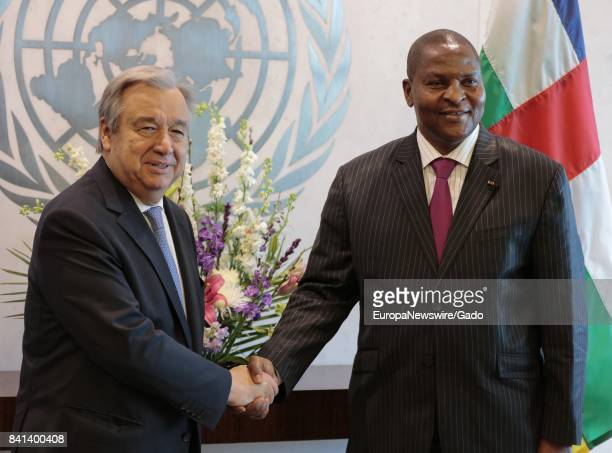 SecretaryGeneral Antonio Guterres meets with Faustin Archange Touadera President of the Central African Republic at the United Nations headquarters...