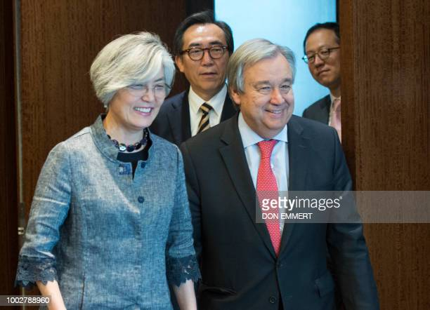 UN SecretaryGeneral Antonio Guterres South Korean Ambassador to the UN Cho Taeyul and South Korean Foreign Minister Kang Kyungwha arrive for a...