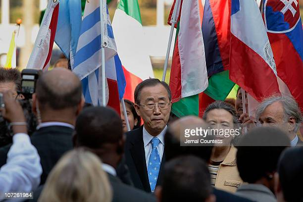 UN SecretaryGeneral Ban Ki Moon at the Peace Bell Ceremony on the International Day of Peace at the United Nations on September 21 2007 in New York...
