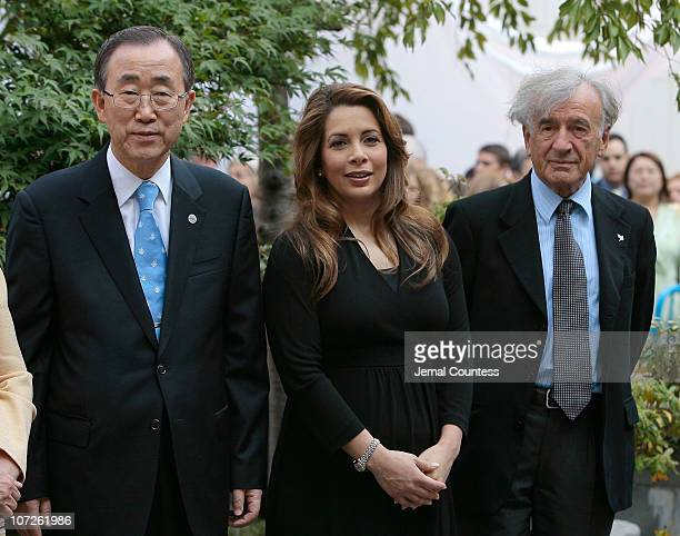 UN SecretaryGeneral Ban Ki Moon with newly appointed Messenger of Peace HRH Princess Haya Bint Al Hussein of Jordan and Dr Elie Weisel at the Peace...