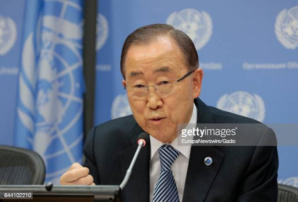 Secretary-General Ban Ki-moon addresses a press conference, his last at United Nations headquarters, as his term of office draws to a close at the...