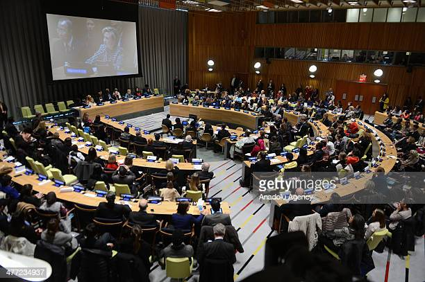 N SecretaryGeneral Ban Kimoon and former United States Secretary of State Hillary Clinton attend at a UN meeting to kick off events for the...