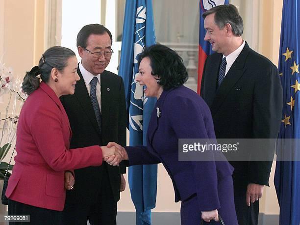 UN SecretaryGeneral Ban Kimoon and his wife Ban Soontaek meet with Slovenian President Danilo Turk whose country holds the EU's rotating presidency...