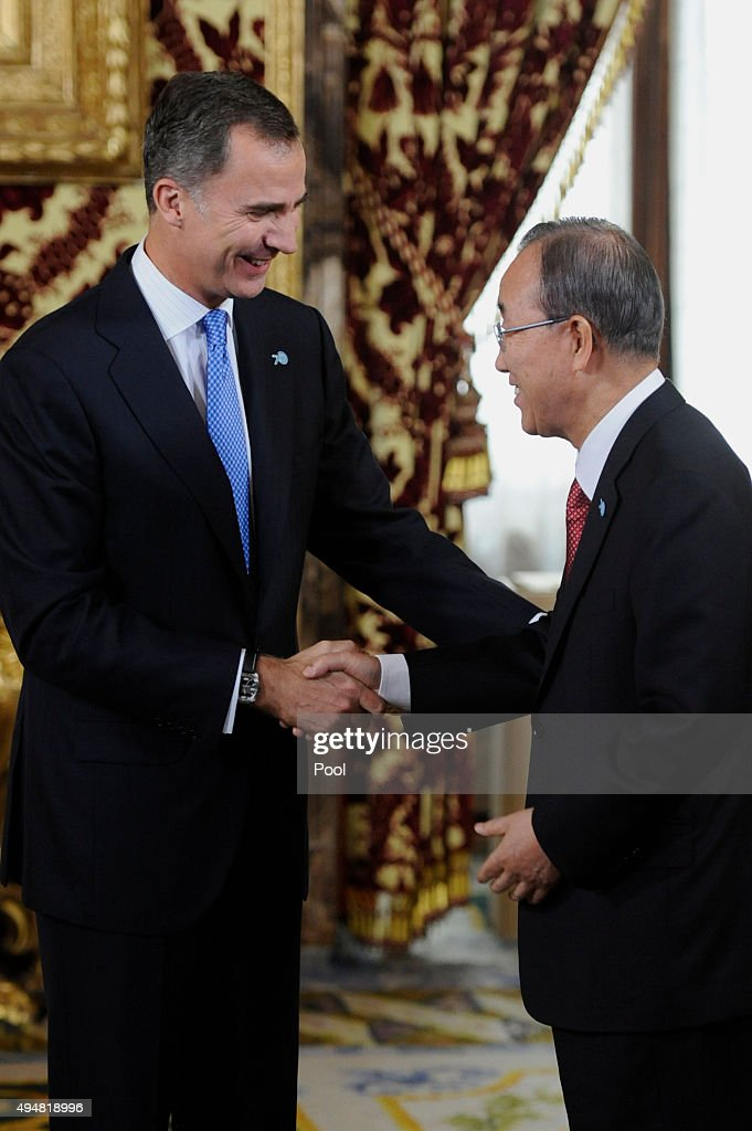 UN Secretary-General Ban Ki-moon (R) and King Felipe VI of Spain (L) attend the 70th Anniversary of United Nations ceremony at the Royal Palace on October 29, 2015 in Madrid, Spain.