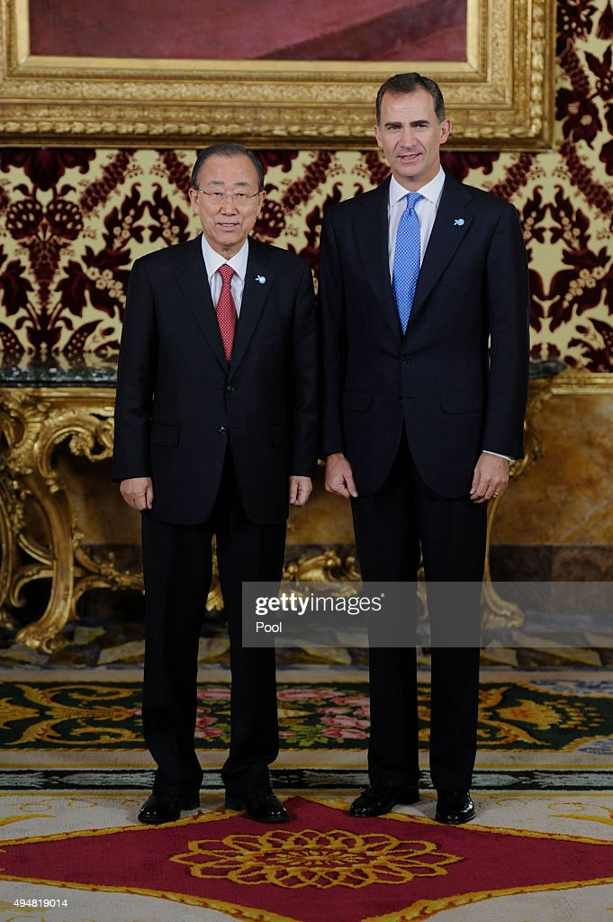 UN Secretary-General Ban Ki-moon (L) and King Felipe VI of Spain (R) attend the 70th Anniversary of United Nations ceremony at the Royal Palace on October 29, 2015 in Madrid, Spain.