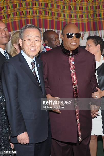 Secretary-General Ban Ki-moon and UN Messenger of Peace Stevie Wonder attend the United Nations Day Concert at United Nations on October 24, 2012 in...