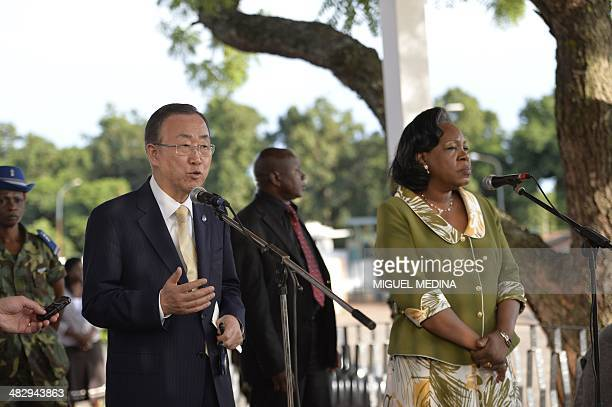 Secretary-General Ban Ki-Moon answers to journalists beside Central African interim President Catherine Samba-Panza at the presidential palace in...