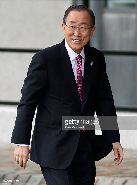SecretaryGeneral Ban Kimoon arrives at the 'Supporting Syria Conference' at The Queen Elizabeth II Conference Centre on February 4 2016 in London...