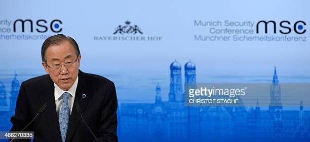 UN SecretaryGeneral Ban KiMoon attends the 50th Munich Security Conference on February 1 2014 in Munich southern Germany The annual meeting of the...