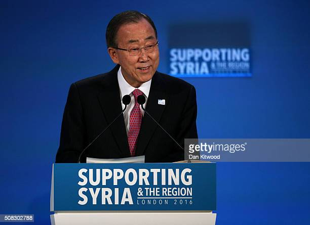 SecretaryGeneral Ban Kimoon attends the 'Supporting Syria Conference' at The Queen Elizabeth II Conference Centre on February 4 2016 in London...