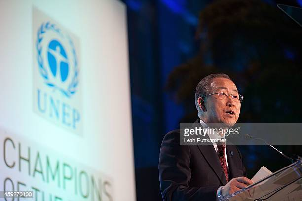 Secretary-General Ban Ki-moon delivers remarks at the United Nations Environment Program Champions of the Earth Award Ceremony at Smithsonian...