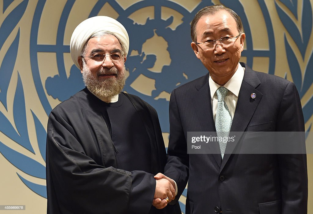 U.N. Secretary-General Ban Ki-moon (R) greets Iranian President Hassan Rouhani before a meeting at the United Nations on September 23, 2014 in New York City. Participants met in what was billed as the largest gathering of world leaders ever to address climate change. The 69th Session of the UN General Assembly opens tomorrow.