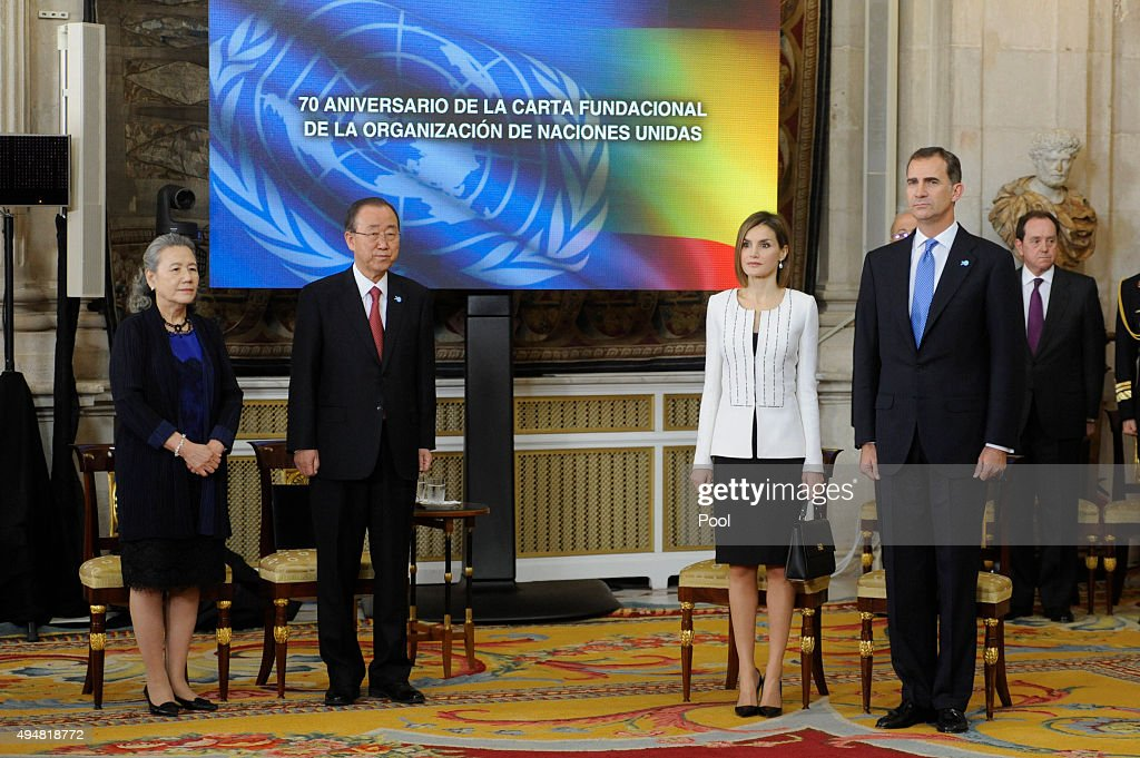 UN Secretary-General Ban Ki-moon (2L), his wife Yoo Soon-taek (L), King Felipe VI of Spain (R) and Queen Letizia of Spain (2R) attend the 70th Anniversary of United Nations ceremony at the Royal Palace on October 29, 2015 in Madrid, Spain.